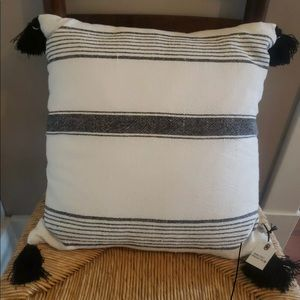Hearth & Hand Accents - Hearth & Hand Throw Pillow Sour Cream/Black strips